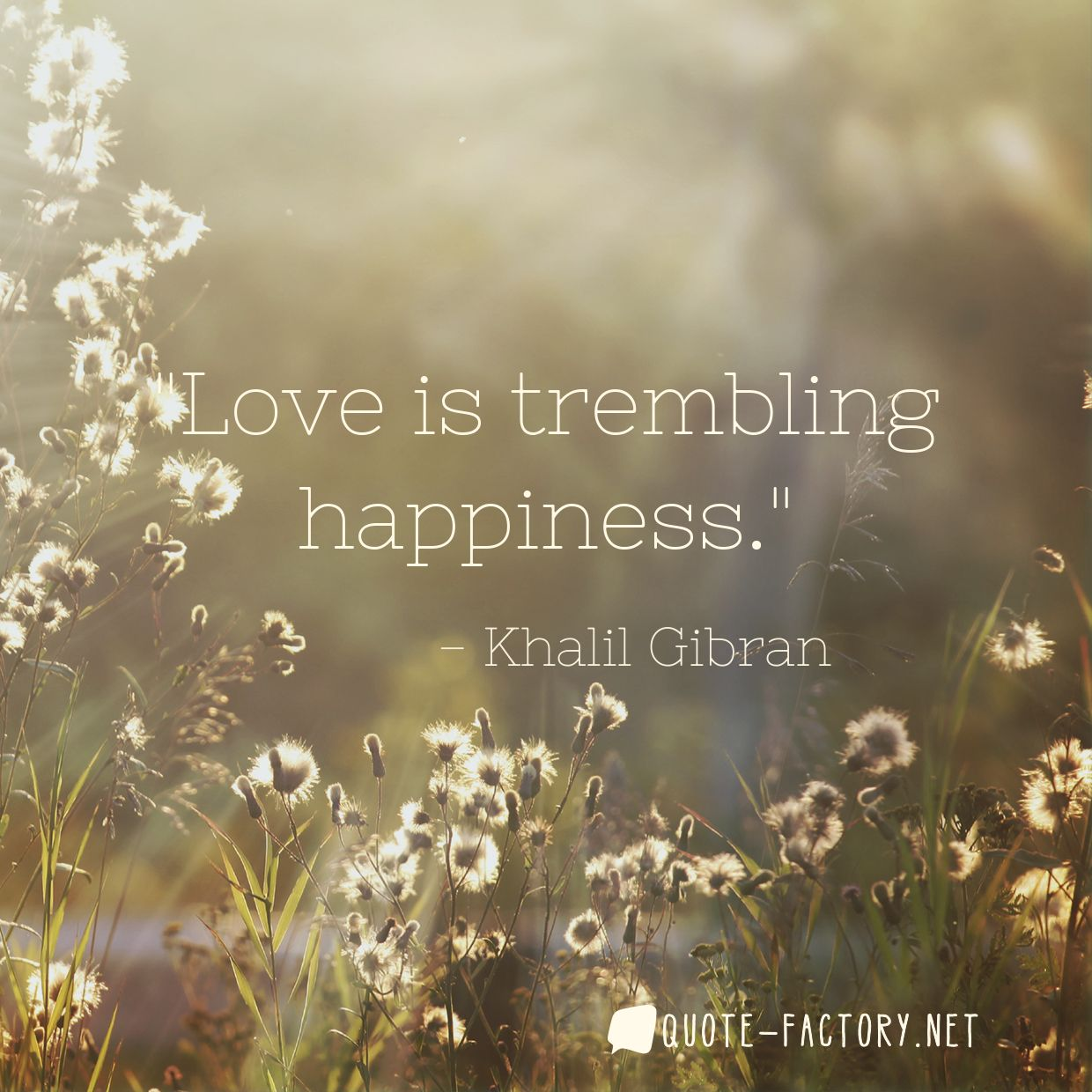 Love is trembling happiness.