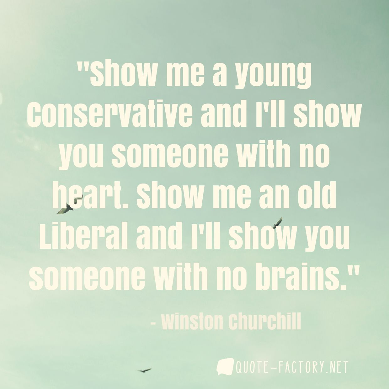 Show me a young Conservative and I'll show you someone with no heart. Show me an old Liberal and I'll show you someone with no brains.